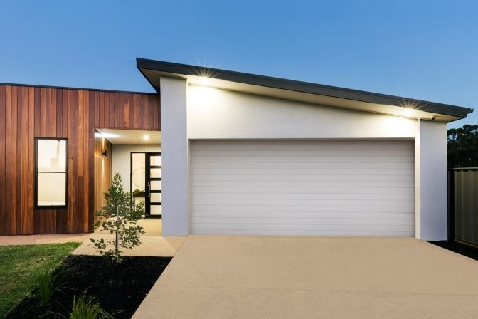 Contemporary new Australian home lighting at dusk